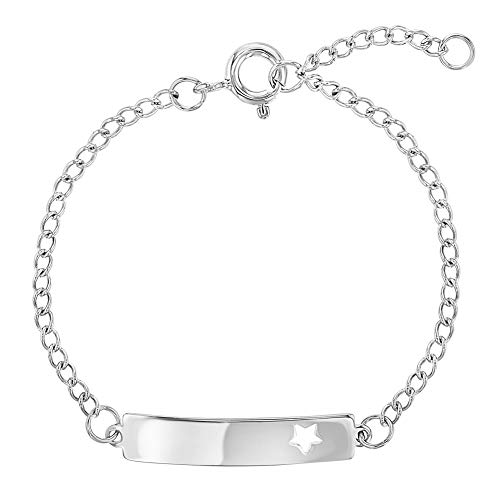 (925 Sterling Silver Tag ID Cutout Star Adjustable Bracelet Toddlers or Girls 5