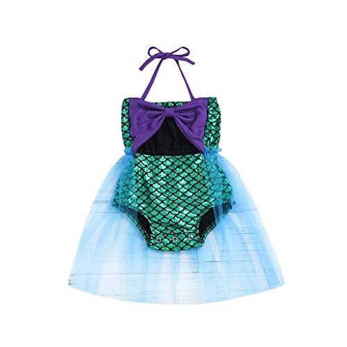 AIEason Little Girls Tutu Dress Swimmable Bow-Knot Suspender Romper Mermaid Princess Bikini Swimsuits Halter Swimwear Set Purple