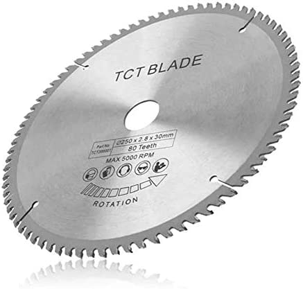 ZJN-JN Saw blade Metal Circular Saw Blade Set 250mm 80T High Speed Steel TCT Circular Saw Blade 30mm Bore Blade Kit For 255mm Saws Cuts Wood, Metal and Plastic Cutting tool