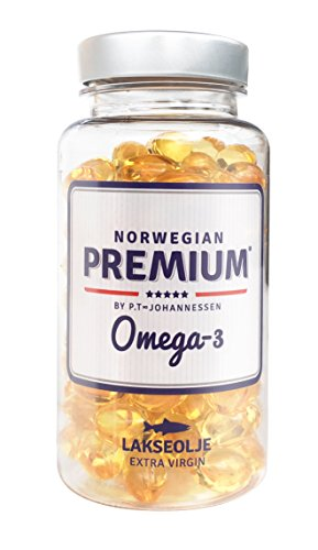 Norwegian Premium Omega-3 by P.T-Johannessen Salmon Fish Extra Virgin not from Concentrate burpless Oil. Made in Norway. (120 Capsules) -