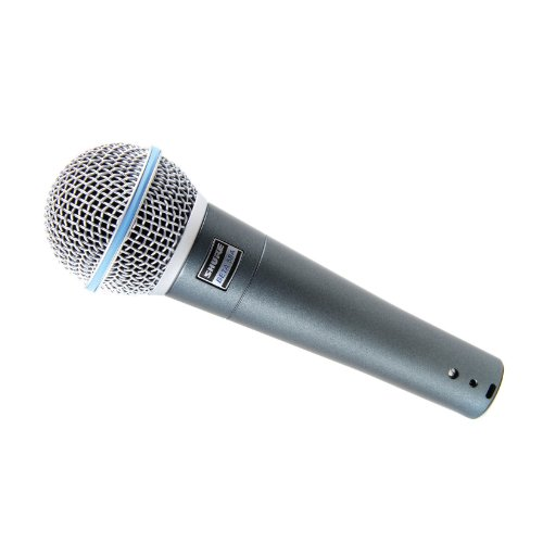 New Shure | High-Performance Supercardioid Dynamic Vocal Microphone BETA 58A with Built-In Spherical Wind & Pop Filter and Stand Clamp by Shure