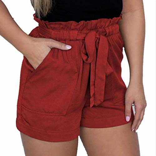 FarJing Women SummerSexy Crepe Woven Tie Pants Casual High Waist Shorts (XL,Red (Pants Crepe Modern)