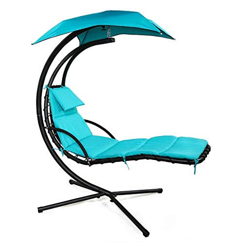Ezone Outdoor Hanging Hammock Chair Lounge Swing, Curved Chaise Lounge Chair Swing for Backyard, Patio and More Blue
