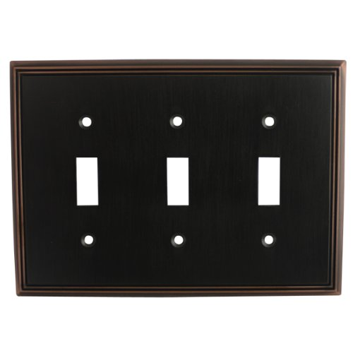 Duplex Outlet Triple Toggle Switchplate - Cosmas 65005-ORB Oil Rubbed Bronze Triple Toggle Switchplate Wall Switch Plate Cover