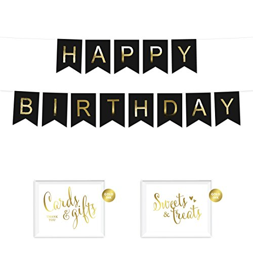 Andaz Press Shiny Gold Foil Paper Pennant Hanging Banner with Gold Party Signs, Happy Birthday Black, Pre-Strung, No Assembly Required, 1-Set -