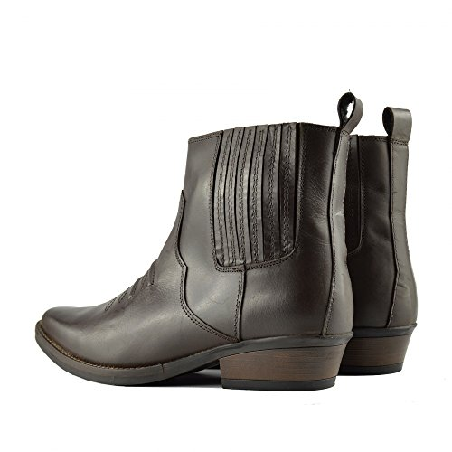 EU40 47 Kick Tacco Mens Tirare Boots Marrone Footwear Smart Occidentale Cowboy Cubano Caviglia PwPravSq
