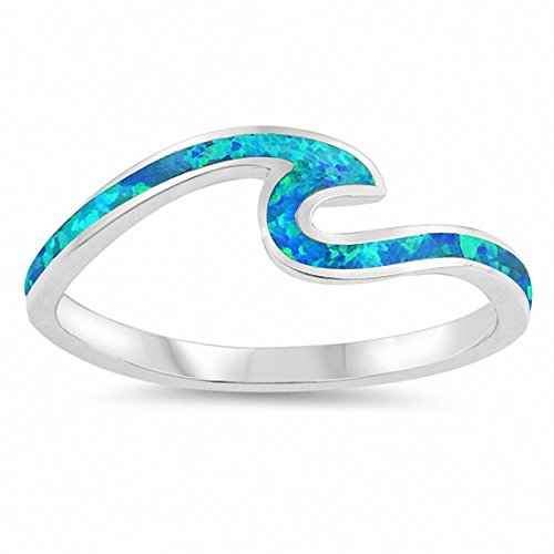 (Small Wave Ring Petite Dainty Created Blue Opal 925 Sterling Silver,Size-4)