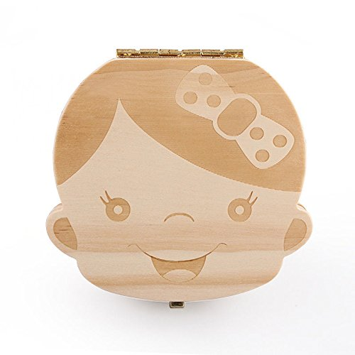 Baby Tooth Box Wooden Baby Keepsake Tooth Collection Deciduous Souvenir Box (Girl)