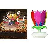 2 PAK Birthday Candles, Lotus Flower Amazing Musical Exciting Birthday Candle (2 RAINBOW)