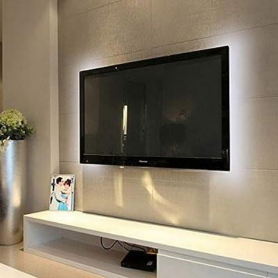 biuday USB RGB Tira de luz LED para TV, iluminación de fondo de la luz ambiental de la luz de fondo de la televisión sin control remoto para decoración del hogar (Blanco