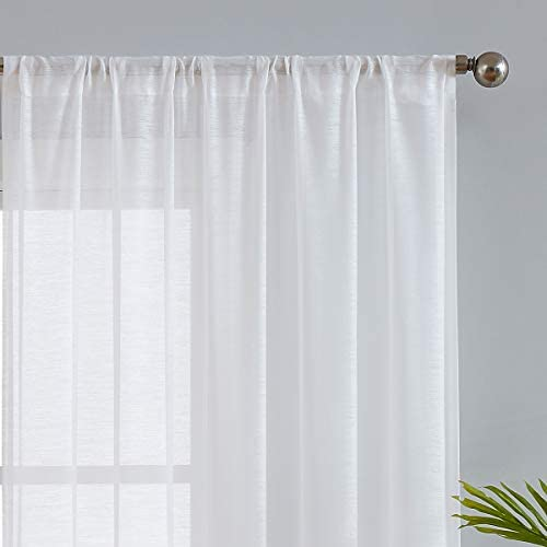 Fmfunctex White Sheer Curtains 108 inches Long for Living Room Slub Textured Outdoor Curtains Semi-Sheer Window Drapers for Bedroom 52 w x 2Panels