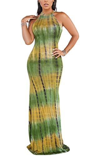 Women's Sexy Sleeveless O-Neck Bodycon Dress Tie Dye Maxi Long Dresses - Tie Dye Formal Dresses