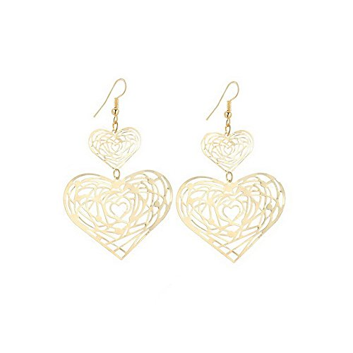 IDB Delicate Filigree Dangle Double Heart Drop Hook Earrings - available in silver and gold tones (Gold tone) (Double Heart Dangle Earrings)