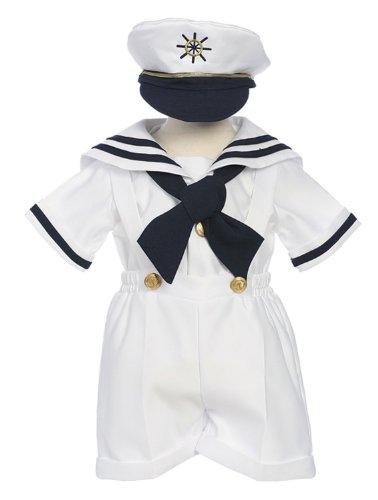 Classykidzshop White Sailor Shirt, Shorts, Tie and Hat (Baby) -