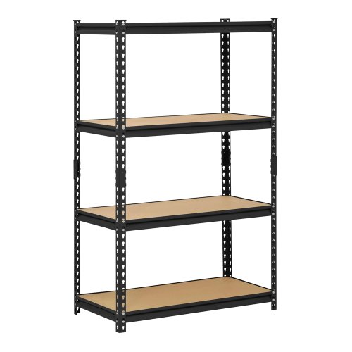 (Muscle Rack URWM364BLK Black Steel Storage Rack, 4 Adjustable Shelves, 2000 lb. Capacity, 60