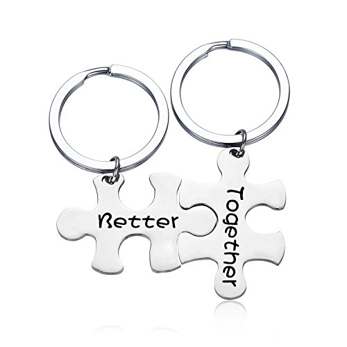 Gzrlyf Puzzle Piece Keychain His And Her Keychain Better Together Keychain Couples keychain Valentine Gift Girlfriend Gift Boy Gift Mother Daughter Gift (set keychain) by Gzrlyf