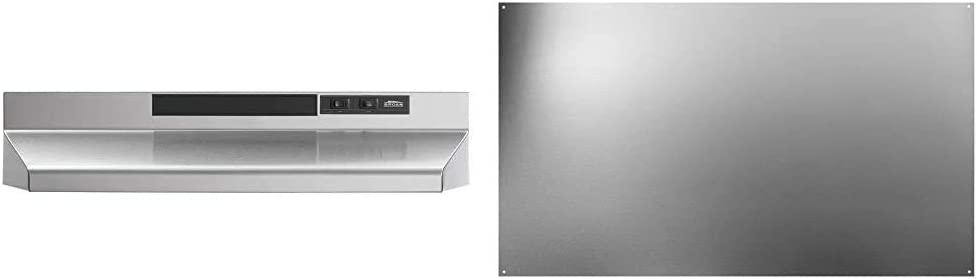 Broan-NuTone F403004 Insert with Light, Exhaust Fan, 30-Inch, Stainless Steel & SP3004 Reversible Stainless Steel Backsplash Range Hood Wall Shield for Kitchen, 24 by 30-Inch