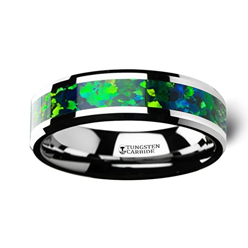 Thorsten Photon Tungsten Band Beveled Edges and Green Blue Opal Inlay 6mm Wide Wedding Band from Roy Rose Jewelry