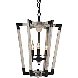 Docheer 3-Light Wooden Chandelier Rustic Metal and Wood Ceiling Pendant Chandelier Lights Farmhouse French Country Style Lighting Hanging Lamp for Dinning Rooms, Living Rooms, Bedroom