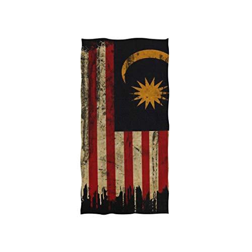 YOULUCK-7 Malesia Flag Grunge Vintage Large Hand Towels, Multipurpose Hand Towel for Bath, Hand, Face, Gym and Spa