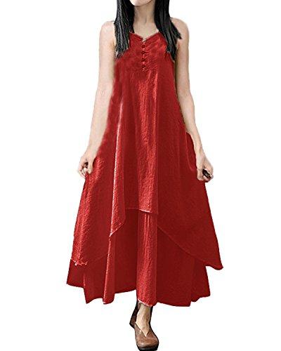 ZANZEA Femmes Vintage Linge Lâche Maxi Tunique Sans Manches Bal Cocktail Irrégulier Long Robe Rouge Brique FR 46/EtiquetteTaille XL