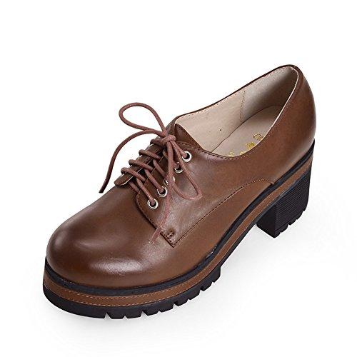 La versión coreana de zapatos de plataforma/Zapatos de mujer/Los tacones altos plataforma en el otoño/Encaje de zapatos casual A