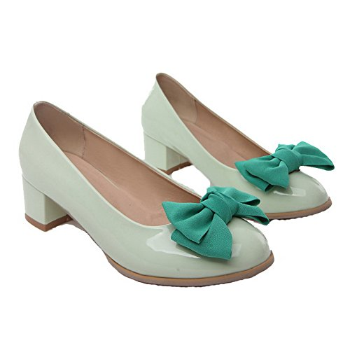 Odomolor Women's Low-Heels PU Solid Pull-On Round-Toe Pumps-Shoes, Cyan, 40
