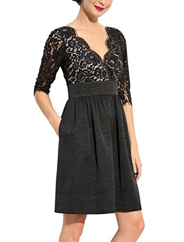 Berydress Women's Contrast Lace Wedding Party Vintage Dress 6006 (14, Black)