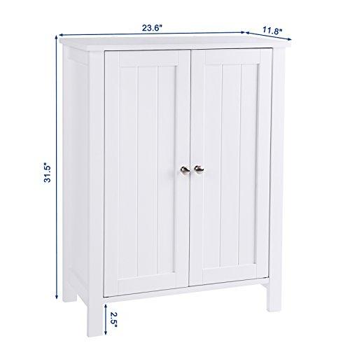 SONGMICS Bathroom Floor Storage Cabinet with Double Door Adjustable Shelf White UBCB60W by SONGMICS (Image #5)