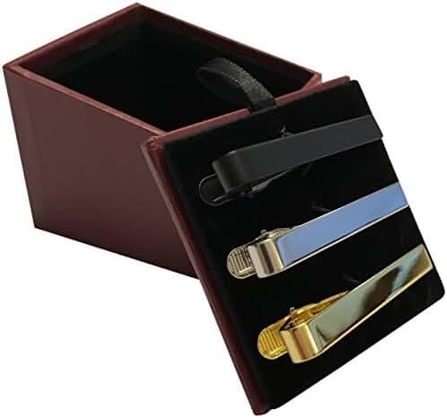 Guento Airus Metal Mens Tie Bar Clip 2.1 Inch 3pc Set Silver Gold Black Gift Box