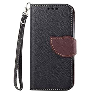 LCJ Exquisite Leaf Design PU Leather Full Body Protective Case with Stand for Samsung Galaxy S4 Mini I9190(Assorted Colors) , Black