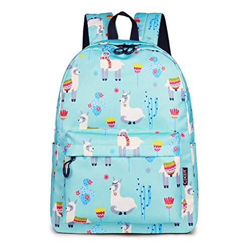 Cute School Backpack for Teen Girls Bookbag Alpaca Printed Laptop Travel Daypack