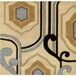 Area Rug Alliyah Handmade Cream New Zealand Contemporary Abstract Wool Blend Rug 6'x6' Square