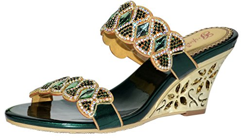Rhinestone Suede Leather Sexy (Abby MNS-T013-A Womens Sexy Comfort Surprising Exquisite Elegant Snug Fashion Leather Wedges Sandals green US Size8)