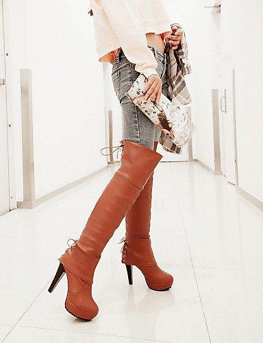 Negro Redonda Cuero Zapatos Uk6 Tacón us8 Mujer Marrón Tacones Cn39 Eu39 Brown Botas Stiletto Black Cerrada Xzz Sintético Punta us8 De Vestido UO0dxAP