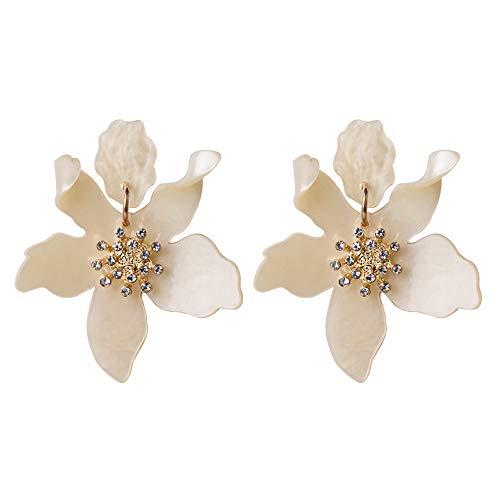 Miweel Bohemian Luxury Oversize Resin Big Flower Earrings For Women Stainless Steel Crystal Jewelry ()