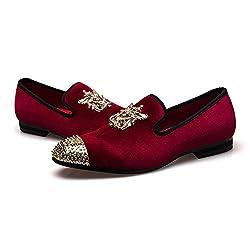 Men Metallic Glitter Genuine Leather Loafers