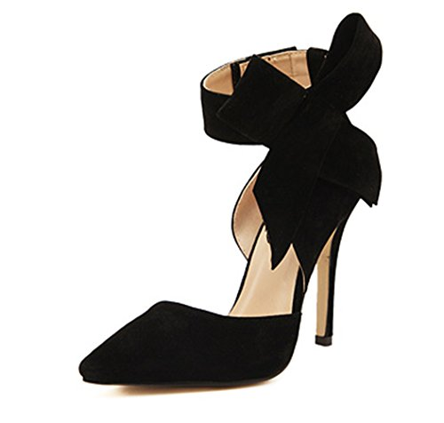 Z&L Women's Pointy Toe Suede High Heel Stiletto Pumps With Big Bowknot Black US 8