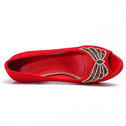 VogueZone009 Womens Open Toe High Heel Stiletto Platform Suede Solid Pumps with Glass Diamond Red aXCwZ
