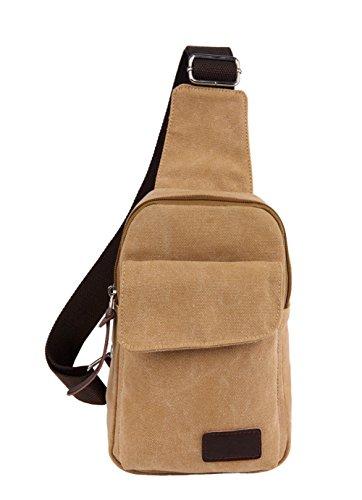 Top Shop Student Canvas Messenger Shoulder Casual Khaki School Bag