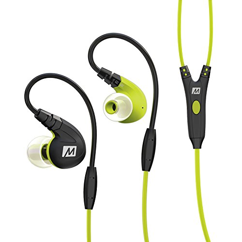 MEE audio M7P Secure-Fit Sports In-Ear Headphones with Mic, Remote, and Universal Volume Control (Green)