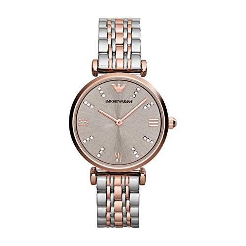 (Emporio Armani AR1840 Ladies Gianni T-Bar Steel and Rose Gold Watch)