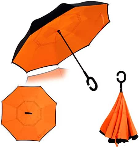 Inverted Umbrella Double Layer Wind Proof,UV Proof Reverse Folding Travel Umbrella with C Shape Handle and Carrying Bag