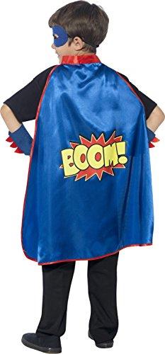 Superhero Childrens Costumes Uk (Smiffy's Children's Unisex Superhero Kit, Cape, Eye Mask & Cuffs, One Size, Colour: Blue)
