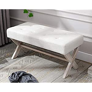 chairus Fabric Upholstered Entryway Bench Seat, 36 inch Bedroom Bench Seat with X-Shaped Wood Legs for Living Room…