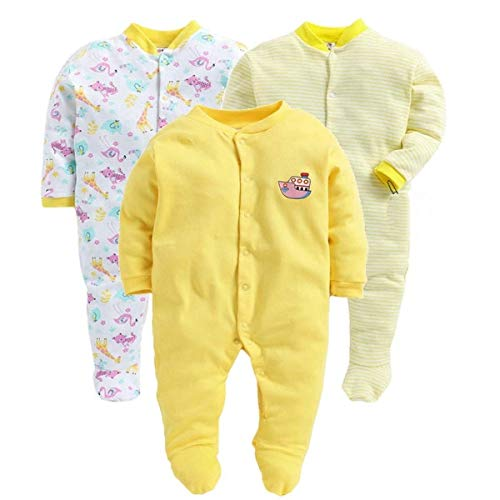 VADMANS 100% Hosiery Cotton Unisex Long Sleeve Rompers/Onesies/Sleepsuit/Full Body-Suit for Baby Boy and Girl/Infants Combo Pack of 3 (Yellow, 0-3 Months)