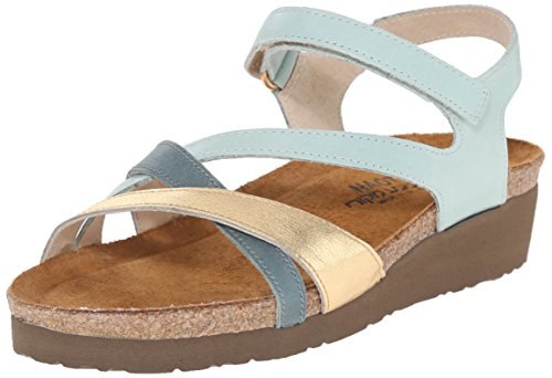 Naot Footwear Women's Sophia Sandal Celadon/Gold/Sea Green Lthr 7 M US