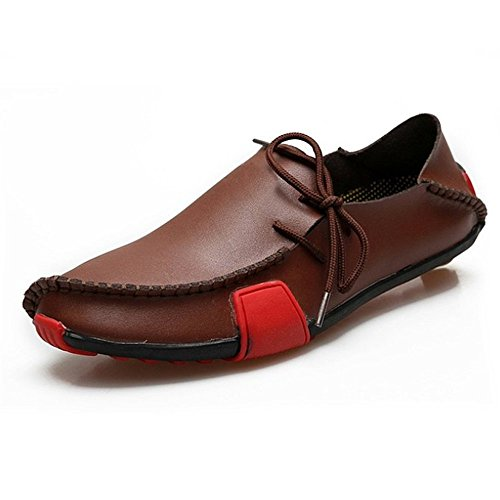 Ceyue Men's Casual Leather Loafers Breathable Driving Shoes-brown-10