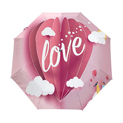 Travel Umbrella Windproof,Ove Invitation Card Valentine Background Black Glue Anti UV Coating,Compact Folding Umbrellas Auto Open Close,for Women -