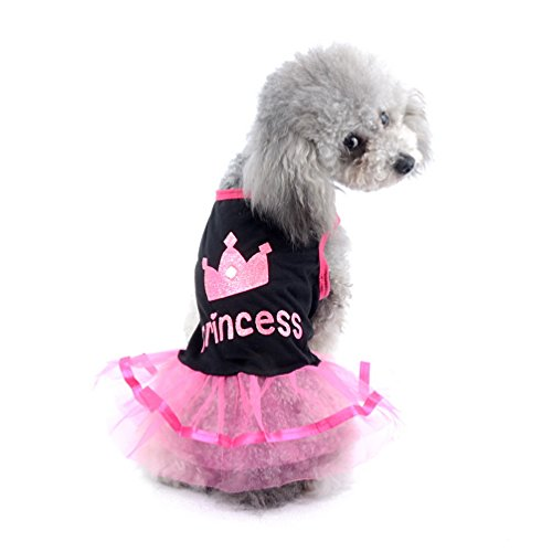 SELMAI Princess Dog Dress Patterns Small Girl Dog Clothes Pink L